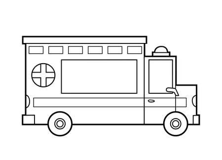 Coloring book for children, Ambulance car.