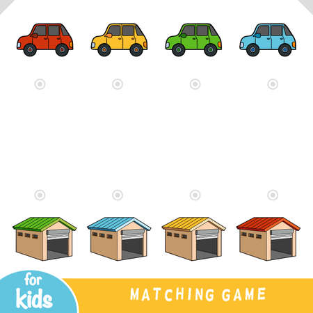 Matching game, education game for children. Choose a garage for each car by color  イラスト・ベクター素材