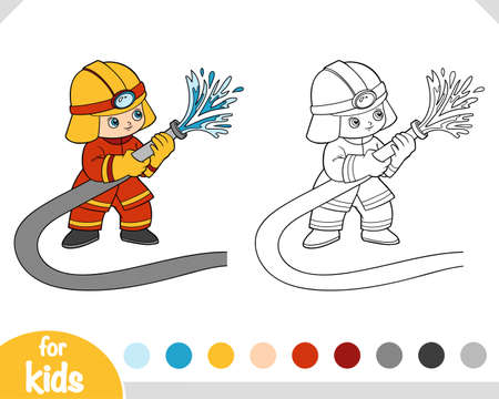 Coloring book for children, Firefighter using fire hose.  イラスト・ベクター素材