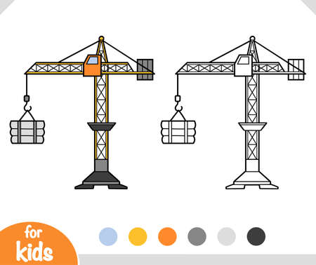 Coloring book for children, Tower crane.