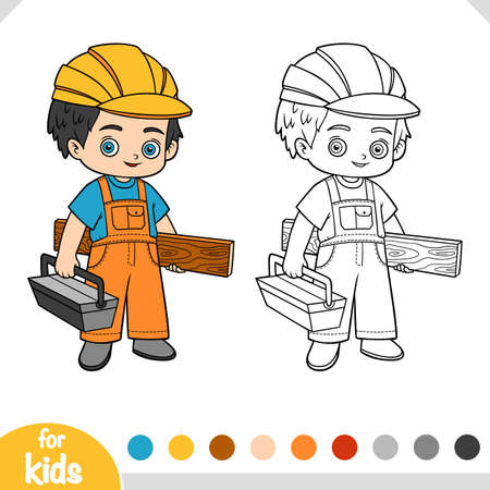 Coloring book for children, Builder with wooden plank and toolbox