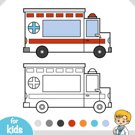 Coloring book for children, Ambulance car