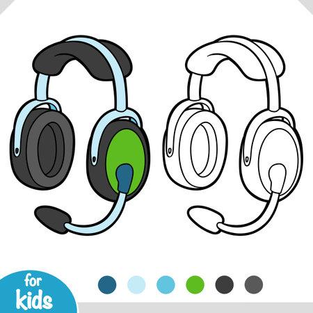 Coloring book for children, Pilots headphones