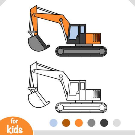 Coloring book for children, Excavator