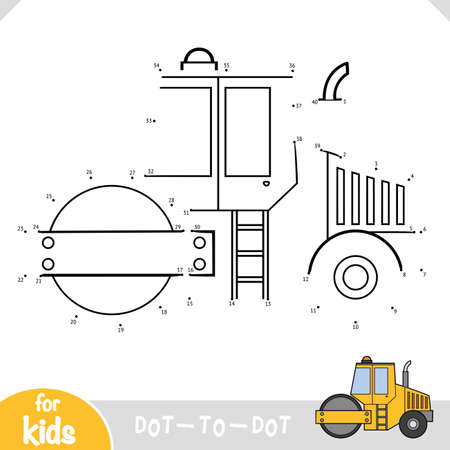Numbers game, education dot to dot game for children, Road roller