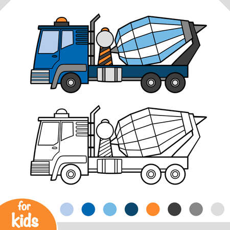 Coloring book for children, Concrete mixer truck