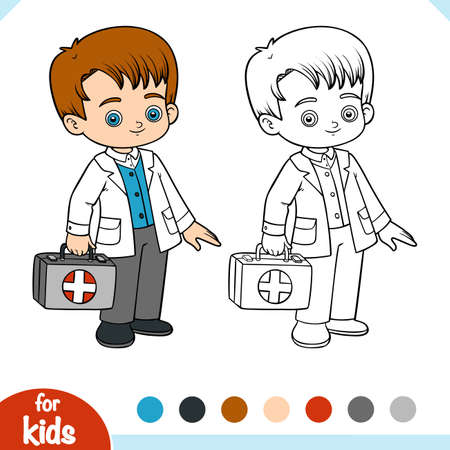 Coloring book for children, Emergency doctor with a first aid bag