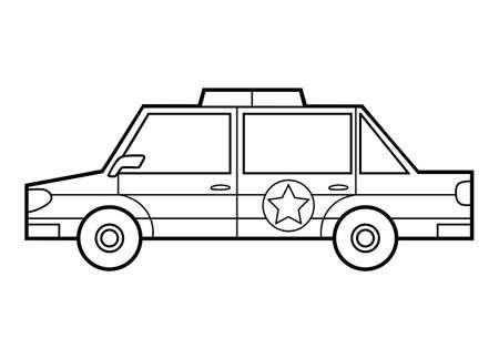 Coloring book for children, Police car Stock Illustratie