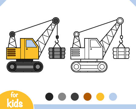 Coloring book for children, Tracked crane
