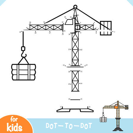 Numbers game, education dot to dot game for children, Tower crane  イラスト・ベクター素材