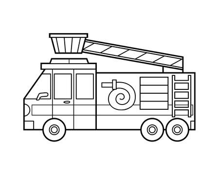 Coloring book for children, Fire engine