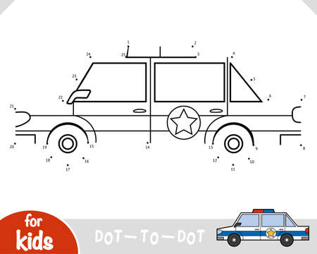 Numbers game, education dot to dot game for children, Police car