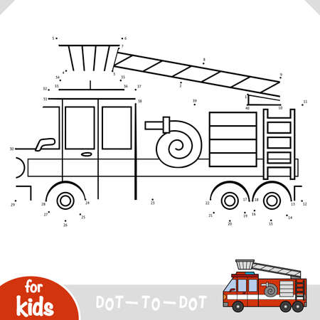 Numbers game, education dot to dot game for children, Fire engine
