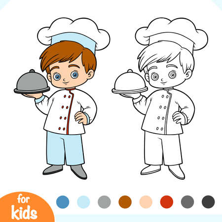 Coloring book for children, Chef  イラスト・ベクター素材