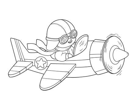 Coloring book for children, Pilot and plane