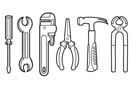 Coloring book for children. Set of instruments - Hammer, Wrench, Screwdriver, Pliers, Pincers