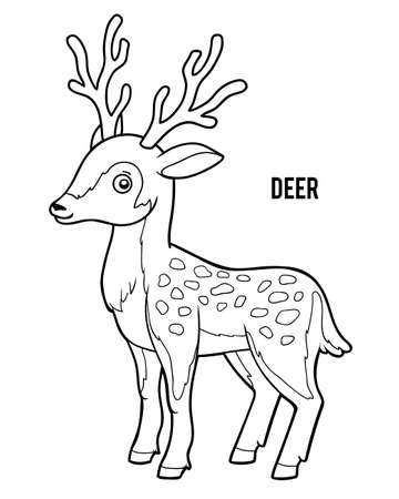 Coloring book for children, Deer  イラスト・ベクター素材