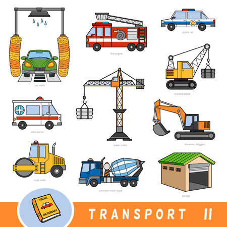 Color transport set, collection of vector items with names in English. Cartoon visual dictionary for children