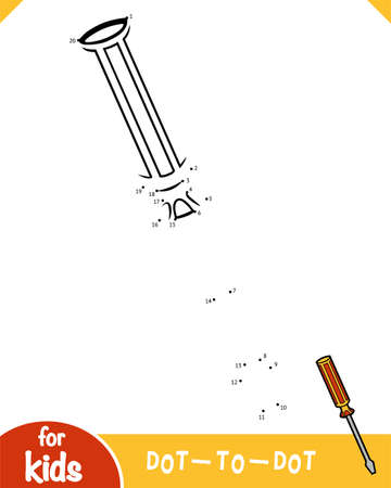 Numbers game, education dot to dot game for children, Screwdriver  イラスト・ベクター素材