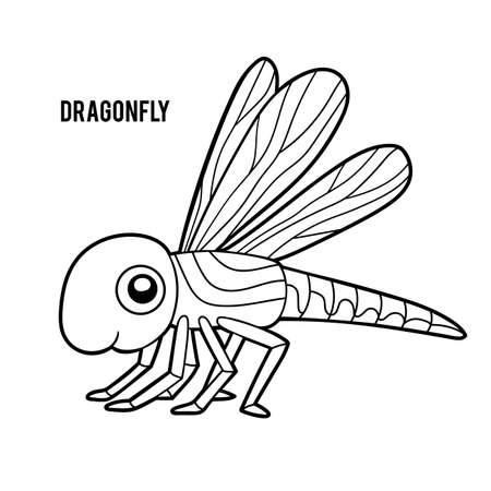Coloring book for children, Dragonfly  イラスト・ベクター素材