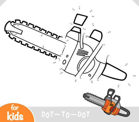 Numbers game, education dot to dot game for children, Chainsaw