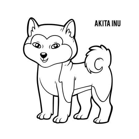 Coloring book for children, Akita inu