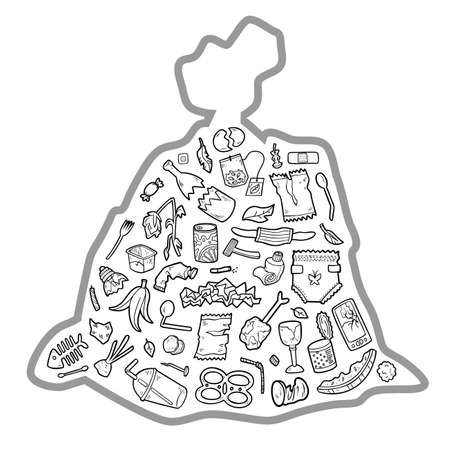 Black and white set of garbage items in a bag on white background. Vector collection of objects on the theme of recycling and environmental pollution