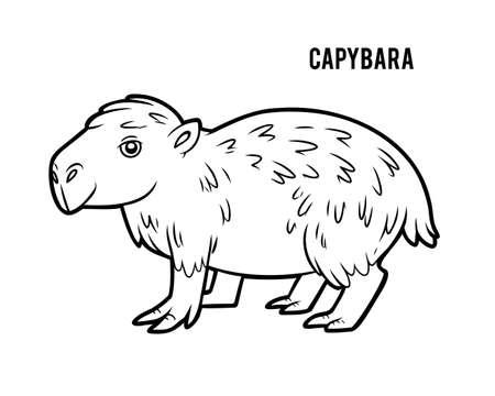 Coloring book for children, Capybara