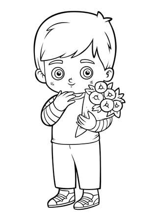 Coloring book for children, Boy and a bouquet of flowers Vektorové ilustrace