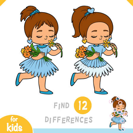 Find differences, educational game for children, Girl with a flower