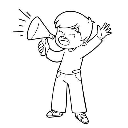 Coloring book for children, Boy shouting through a megaphone Vettoriali