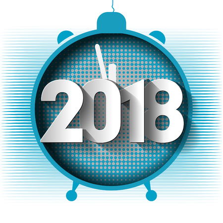 date night: Happy New Year 2018 background decoration. Template greeting cards 2018 alarm clock. Vector illustration of a date of 2018.