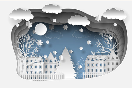 Illustration winter coming. Merry Christmas and Happy New Year 2018 background. Paper art and craft style Vector Illustration