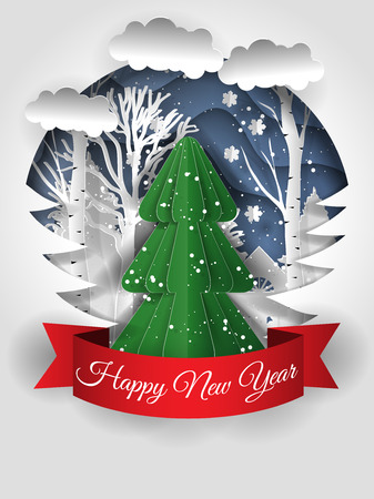 Creative Merry Christmas and Happy New Year 2018 design. Vector illustration. Paper art craft style.