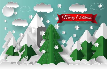 クリエイティブハッピーニューイヤー2018とメリークリスマスデザイン。ベクトルイラスト。ペーパーアート