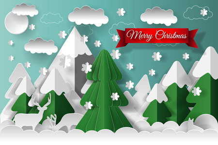 Creative happy new year 2018 and Merry Christmas design. Vector illustration. Paper art