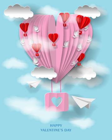 3d Valentines day illustration. Paper heart and clouds, pigeons and balloons in form of hearts. Paper art craft style. Ilustração