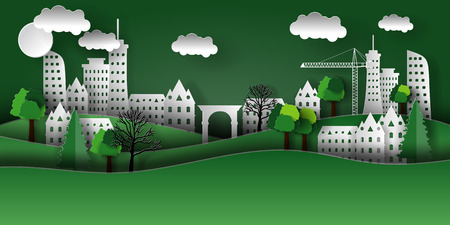 Illustration of a paper city with trees, houses, skyscrapers. The style of paper art.