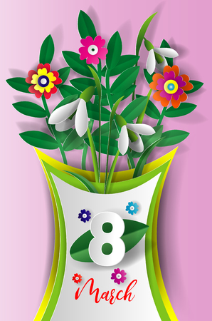 Abstract floral greeting card. International Womens Day.