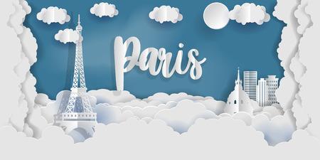 Paris Eiffel Tower, France. Papert art cut style vector illustration. Illustration