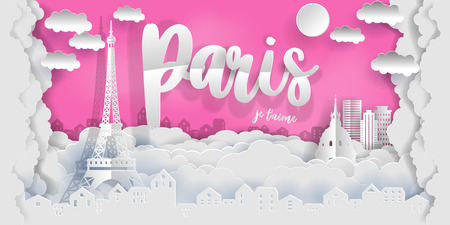 Paris Eiffel Tower, France. With the text in French Paris I love you. Paper art cut style vector illustration.