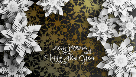 New year 2019 and Christmas design. Christmas paper cut with golden shadows on golden background. Vectores