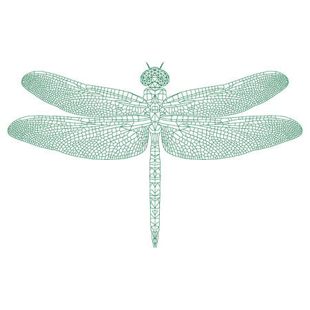 mosaic dragonfly for coloring and design. vector illustration.