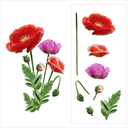 priceless: Set of colored mosaic poppies on white background. easy to modify. vector illustration.