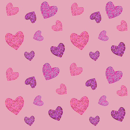 seamless pattern with mosaic valentines hearts. vector illustration.