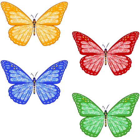 swatch: set of colorful textured butterflies on white background. isolated. vector illustration.