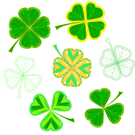 modify: set of isolated colorfull mosaic clover leaves on white background. easy to modify. vector illustration.