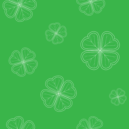 Saint Patricks Day pattern with green tender clover leaves on white background. vector illustration.