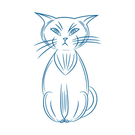 Grumpy cat. hand drawn. isolated on white background. vector illustration.