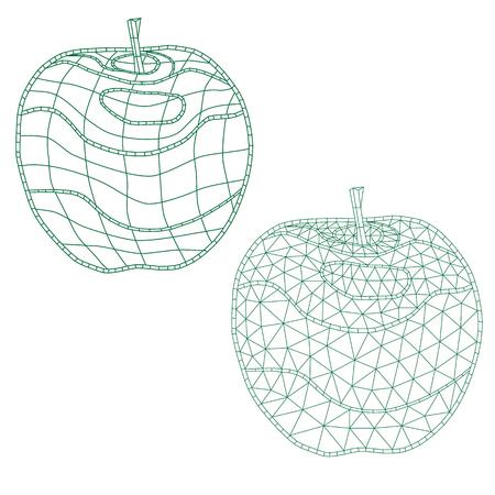 Conjunto De Manzanas De Mosaico. Para Colorear Y Diseñar. Aislado ...